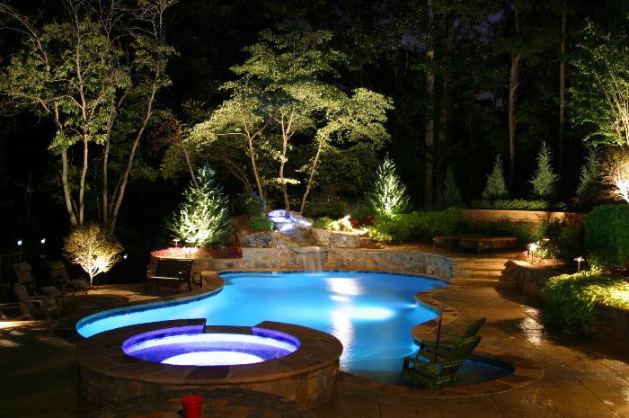 Baylites - outdoor landscape lighting - pool at night